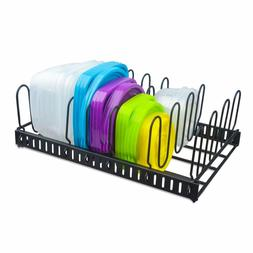 Metal Food Container Lid Organizer&Adjustable 6 Dividers Sto