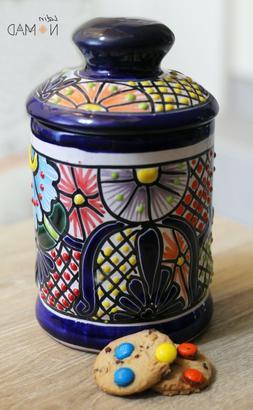 Mexican Multicolored Talavera Jar with Lid.