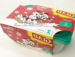 Mickey Mouse Glad Deep Dish 2 Large Disposable Containers &