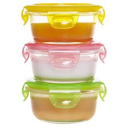 AILTEC Mini Glass Baby Food Containers Storage 3 Set 7.12 Oz