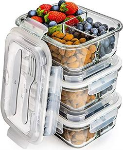Naturals Glass Meal Prep Containers 3 Compartment Bento Box