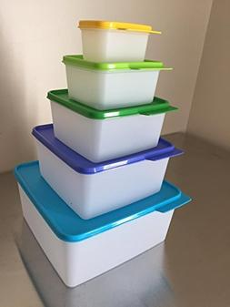 Tupperware Nesting Stackable Storage Square Containers 5 Pie
