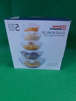 NEW Home Basics 10 Pc Clear Glass Food Storage Bowl Containe