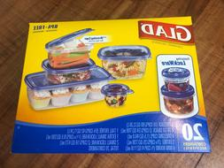 NEW GLAD FOOD STORAGE CONTAINERS LOCKWARE  20 CONTAINERS FOR