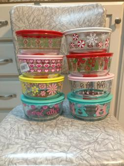 New Pyrex Holiday 4-Cup Glass Storage Spring/Easter/Christma