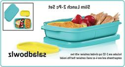 TUPPERWARE New SLIM 2-PC LUNCH SET Divided Container Snack C