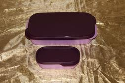 New Tupperware set of Slim Lunch divided container purple/pl