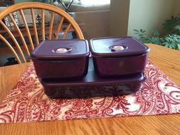 New TUPPERWARE Vent 'N Serve 3 Pc Set~ 2 1/2 & 6-cup Purple