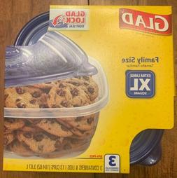 NEW X Large Glad Food Storage Containers 3 Family Sized Cont