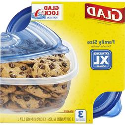 NEW X Large Glad Food Storage Containers - 3 Family Sized Co