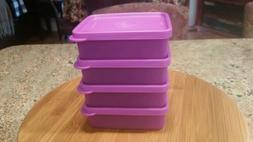 Tupperware NWT Set of 4 SMALL Purple Square-Aways Storage Co