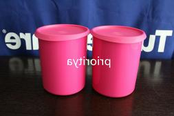 Tupperware One Touch 8 Cups Canister Set of 2 Fuchsia Pink N