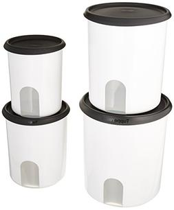 TUPPERWARE ONE TOUCH REMINDER 4-PC. CANISTER SET/BLACK WITH