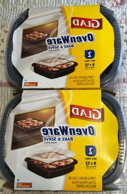 Glad OvenWare Lot of 2 Food Storage Containers XL Rectangula