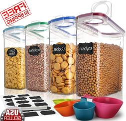 Pack 4 Large Dry Food Rice Container Plastic Cereal Dispense