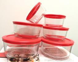 Pack of 4 Pyrex Round Glass Food Storage Container W/Lid 1,
