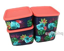 Tupperware Palm Paradise Square Round Storage Container Cani