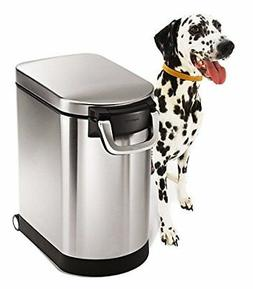 simplehuman Pet Food Storage Can, Brushed Stainless Steel, 2