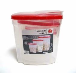 Plastic 3 Piece Cereal Dispenser Set - Dry Food Storage Cont