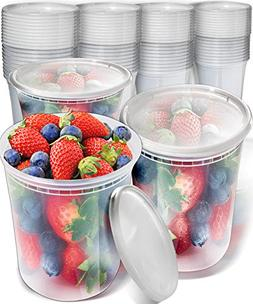 40pk 32oz Plastic Containers with Lids - Freezer Containers