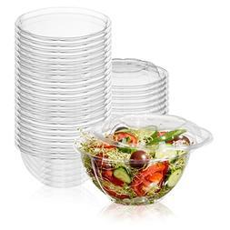 50-Pack 32oz Plastic Disposable Salad Bowls with Lids - Eco-