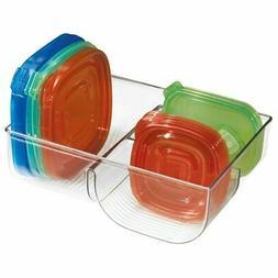 mDesign Plastic Divided Food Storage Container Lid Holder Bi