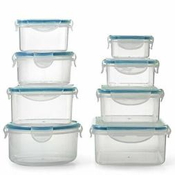 Plastic Food Container Set with Locking Lids - Safe for Dish