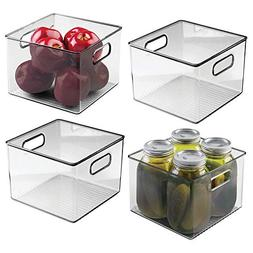 mDesign Plastic Food Storage Container Bin with Handles - fo