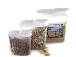 Plastic Food Storage Container Cereal Dispenser Set  – WHI