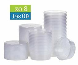 8 oz plastic food storage containers with lids - 40 sets ,