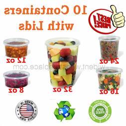 Plastic Food Storage Soup Deli Container with Lids 8oz, 12oz