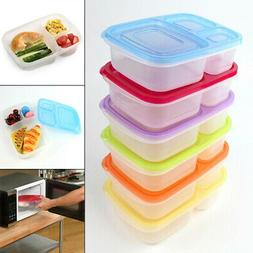 Plastic Lunch Box With Lid 3 Compartments Food Fruit Contain