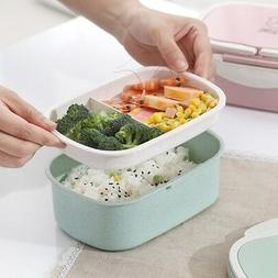 Portable Lunch Box Wheat Straw Picnic Microwave Bento Food S