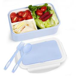 Portable Lunch Container Bento Box 3-Compartment Divided Foo