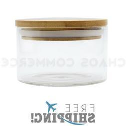 Premium Glass Stash Storage Herb Spice Jar with Pop Top Bamb
