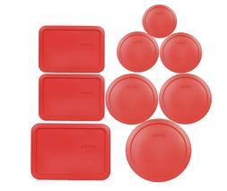 Pyrex Replacement Storage Lids Red 6Pcs Cup 3Pcs Rectangular