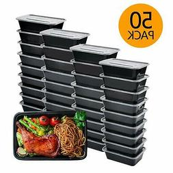 Meal Prep Containers, 50 Pack Bento Boxes Disposable Plastic