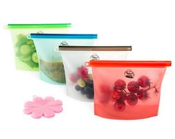Reusable Silicone Food Storage Bags with Free Silicone Clean