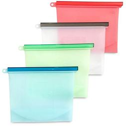 Reusable Silicone Food Storage Bags, 50 OZ/1.5L/6 cups, Air