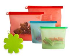 Reusable Silicone Food Storage Bags| Color Coded, Air-tight