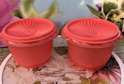Tupperware Servalier 20 oz Bowls & Liquid Tight Seals Orange