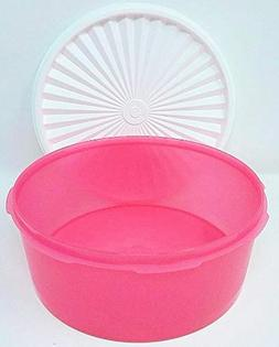 Tupperware Servalier Pink Canister Bowl with White Liquid &