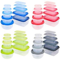 Set of 10 Kitchen Food Storage Containers Plastic Clear Free