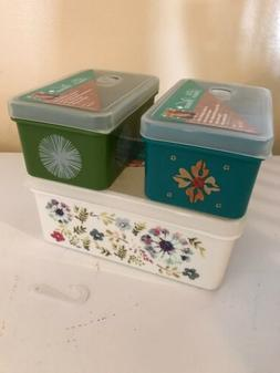 Set of 3 THE PIONEER WOMAN Food Storage Freezer Containers S