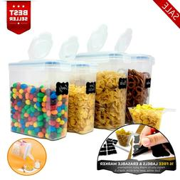 Set of 4 Cereal Container Airtight BPA Free- Kitchen Dry Foo
