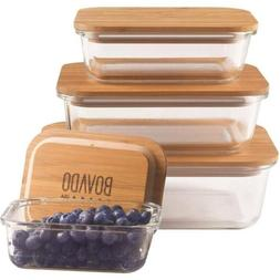 Set of 4 Glass Storage Containers Bamboo Lids Leakproof Micr