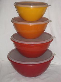 """8 PIECE SET - Vintage Tupperware HARVEST COLORS 6 x 4"""", 7 x"""