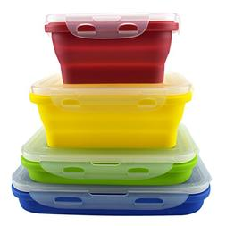 Set of 4 Silicone Food Storage Containers, Silicone Collapsi