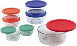 Pyrex Simply Store Glass Round Food Container Set with Multi
