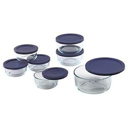 Pyrex Simply Store 14-Piece Round Glass Food Storage Set, Bl